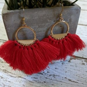Jewelry - BOHO Red fanned fringe and gold earrings